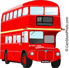 London bus - Big red London double decker bus isolated on...