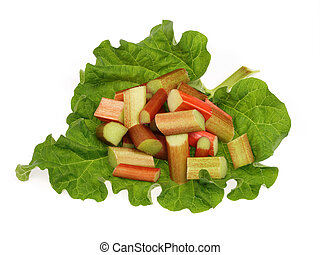 rhubarb pieces disposed on foliage