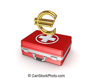 Symbol of euro on a medical suitcase.