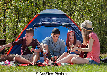 Barbeque youth on a camping - Young teenager group are...