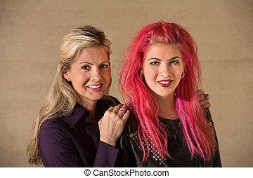 Cute Teenage Girl with Mom