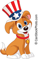 Fourth of July puppy - Fourth of July puppy with top hat