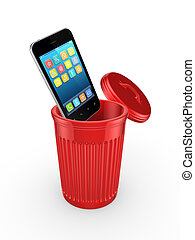 Modern mobile phone in recycle bin.