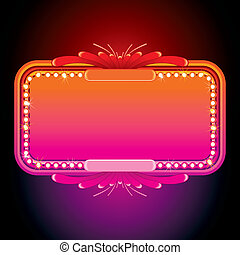 Illustration of Pink Retro Marquee Illuminated Sign or...