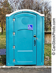 Photo of a blue toilet for disabled people