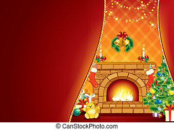 Festive Fireplace and Santas Gifts
