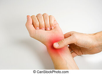 Photo of a person taking hishers own wrist pulse