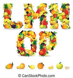 Colorful Letters from Fruit and Berries Clip Art