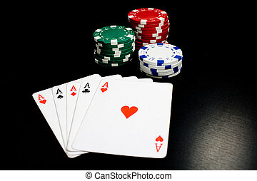 Five of a kind! - Photo of five aces and gambling chips