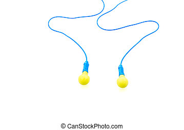 Ear plugs on white background