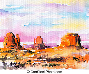 Landscape - Illustration of Monument Valley at...