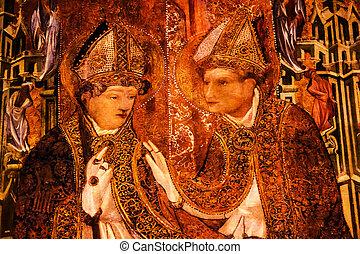 pintado, coro, establo, Obispos, gótico,...