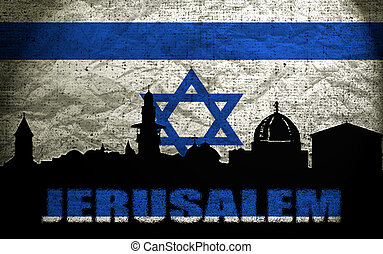 View of Jerusalem on the Grunge Israeli Flag