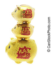 Golden Chinese Piggy Banks on Isolated White Background