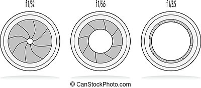 Different camera shutter apertures vector illustration