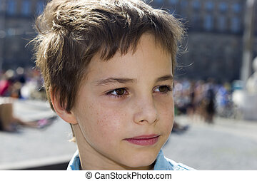 Closeup Portrait of Pre-Teen Boy Smiling