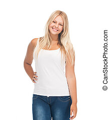 teenager girl in blank white t-shirt - picture of smiling...