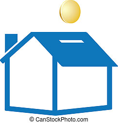 saving money - putting money in saving house color vector...