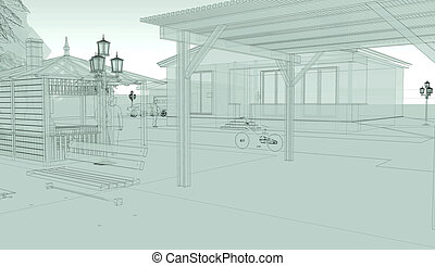 perspective sketch of city street