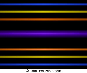 Multi Colored neon light lamp. straight horizontal lines