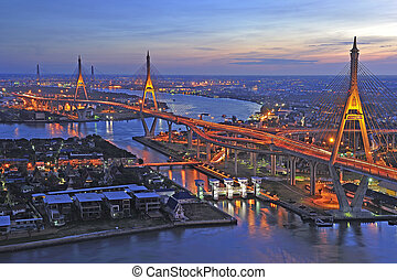 Night view of the Bhumibol bridge (Bangkok, Thailand) -...