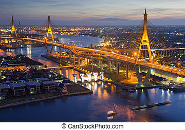 Bhumibol Bridge (the Industrial Ring Road Bridge) in...
