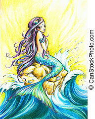 Mermaid - Beautiful mermaid looking at the sea.Picture...