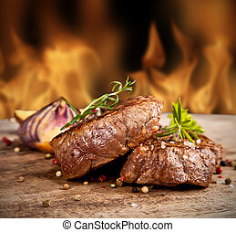 Beef steak - Delicious beef steakes on wood