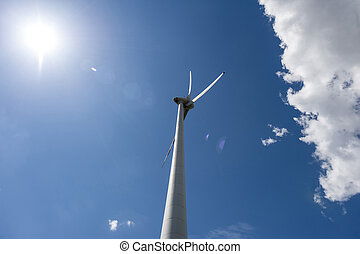 Single wind power engine with cloud and sun