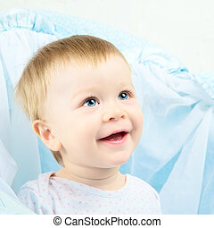 Beautiful Baby Portrait - beautiful laughing baby with blue...