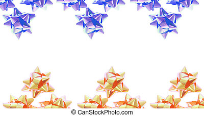 Star Bows - Blue and Gold Star Bows with Copy Space