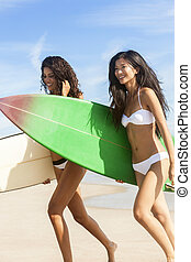Beautiful Bikini Women Surfers & Surfboards At Beach -...