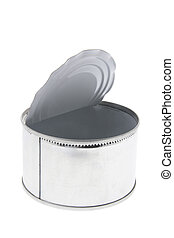 Empty Tin Can on Isolated White Background