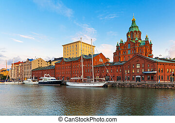 Old Town in Helsinki, Finland - Scenic summer panorama of...
