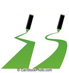 green marker vector illustration