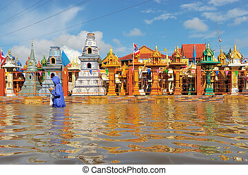 Flooded Temple in Nakorn Rachasrima north east of Thailand....