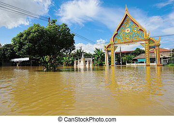 Flooded Temple in Nakorn Rachasrima north east of Thailand -...