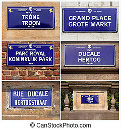 streets names collage, Brussels, Belgium, Europe