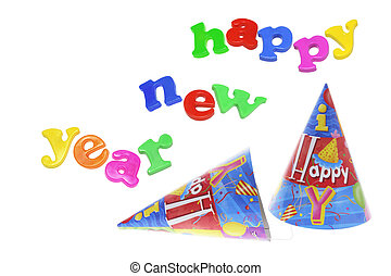 Party Hats with New Year Greetings