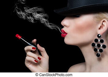 Beautiful girl with cigarette and red lips on black...