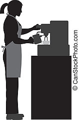 Female Coffee Barista Illustration - Female Coffee Bartender...