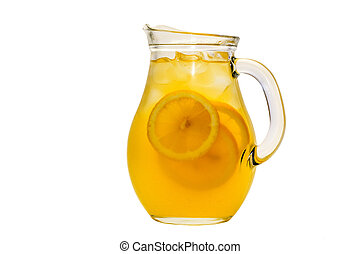pitcher of lemonade on a white background