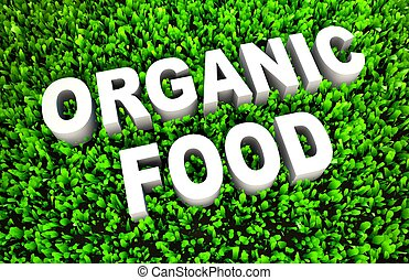 Organic Food Concept on Green Grass as Concept