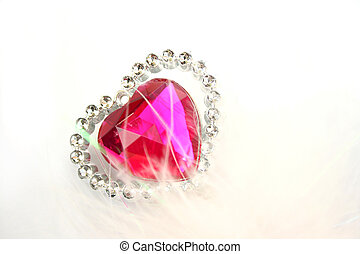 Valentine heart - Red heart stone on white background