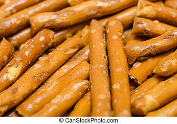 Salted Pretzel Sticks Close Up
