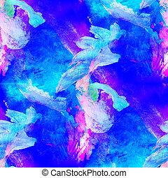 abstract avant-garde blue, purple seamless wallpaper...