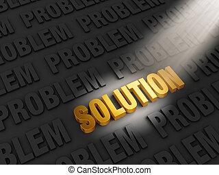 Finding a Solution - A spotlight illuminates bright, gold...