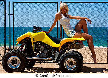 beautiful girl on a quad - Beautiful sexy blonde on the quad...
