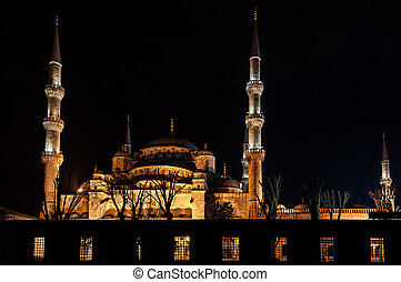 Blue Mosque in Istanbul at night - Blue Mosque at night,...