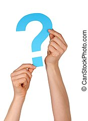 blue question mark - a blue question mark holding up by two...